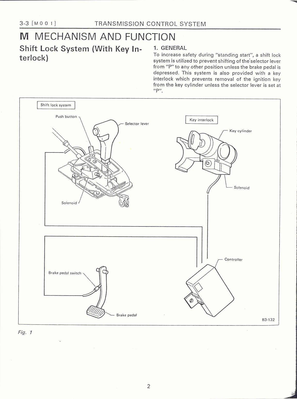 key interlock system � at shift lock system